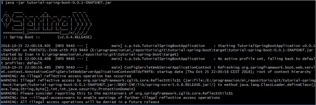Arrancando aplicacion Spring Boot desde la consola