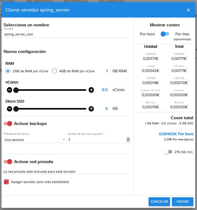Clonando servidor en clouding.io