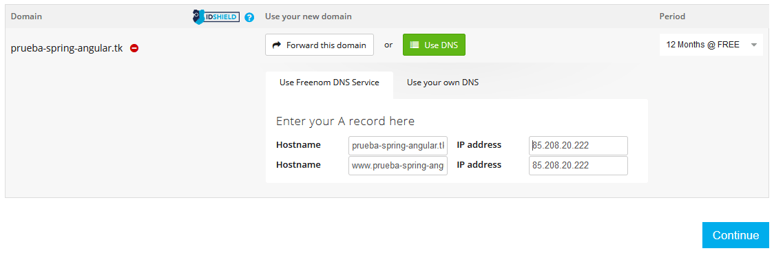 Freenom elegir dominio gratis